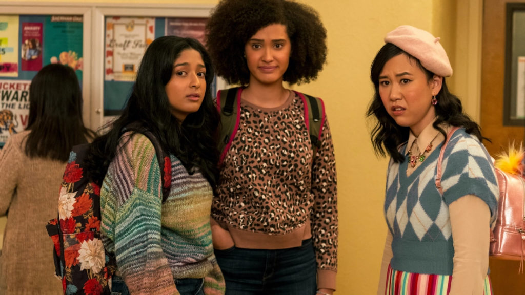 """Image of three teen girls from season 2 of the show """"Never Have I Ever."""""""
