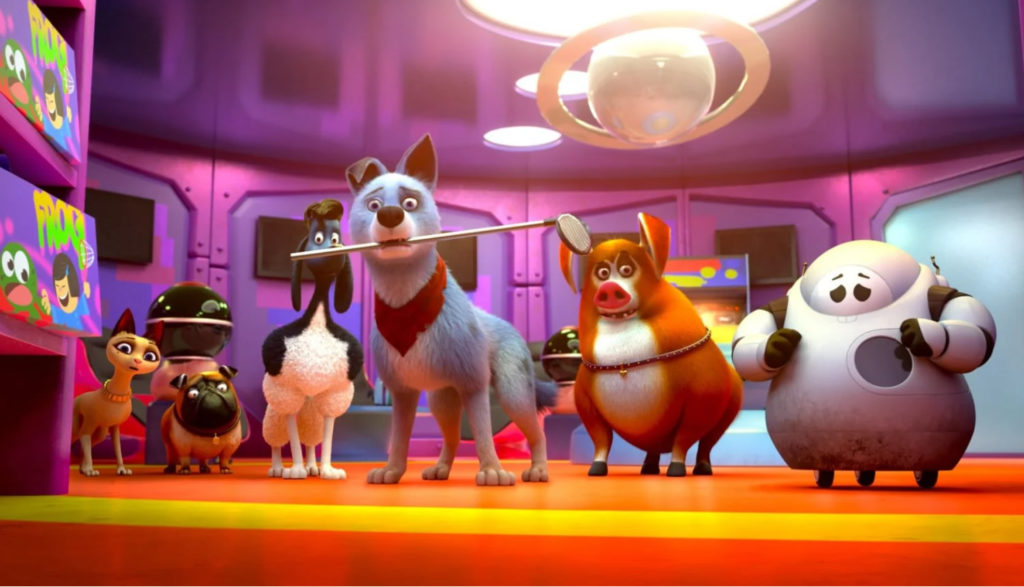 Animated dogs and robots stand around.