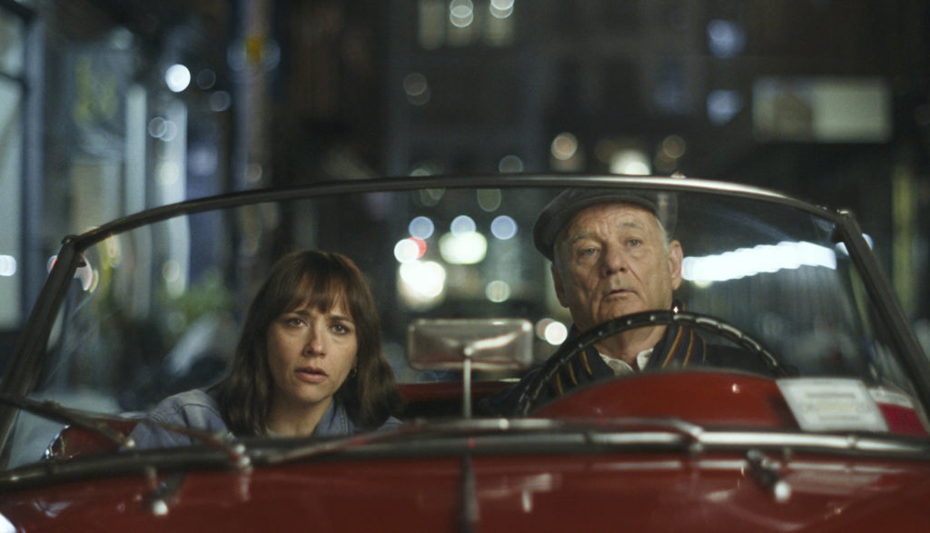 Bill Murray and Rashida Jones ride in a convertible in On the Rocks.