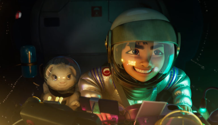 A young girl and her pet pilot a spaceship to the moon.