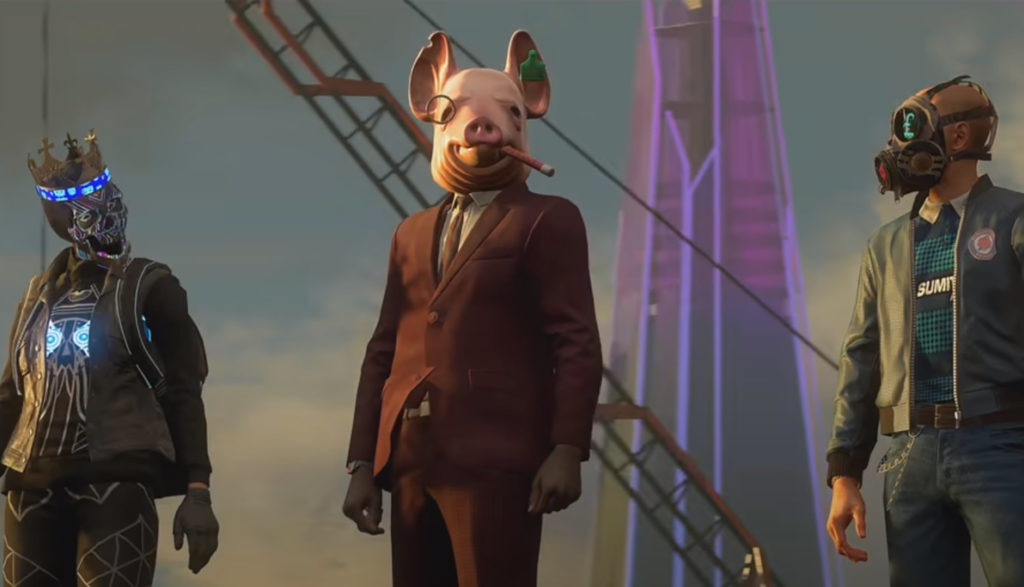This Watch Dogs: Legion still features characters in masks, including a man in a pig mask.