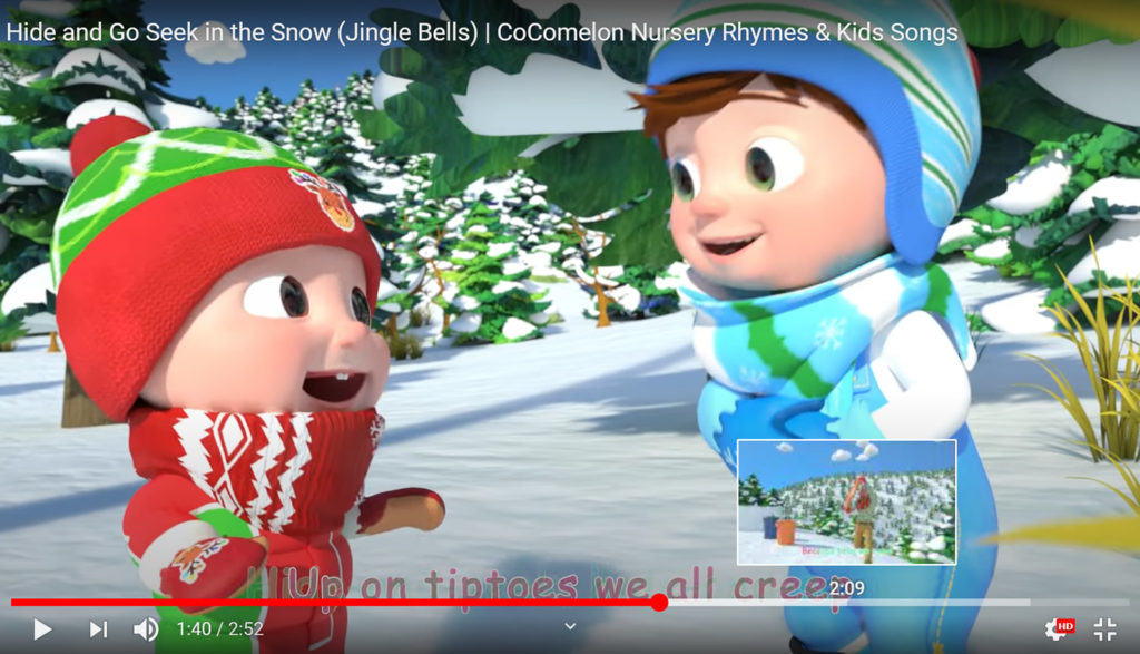 Screen capture for the Cocomelon YouTube channel featuring two kids in snowsuits smiling and talking.