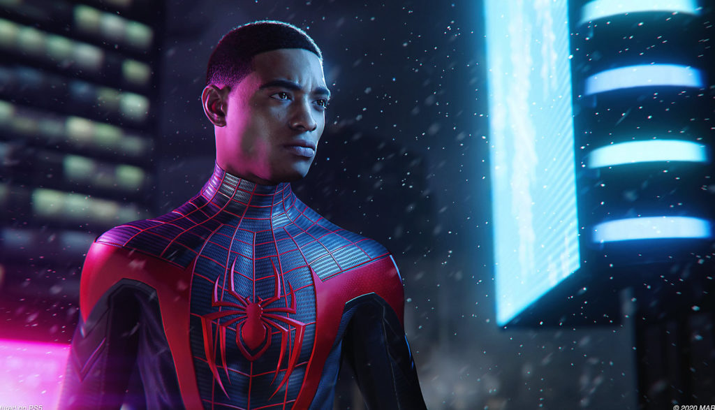 We see Miles Morales in his Spider-Man suit with his mask off.