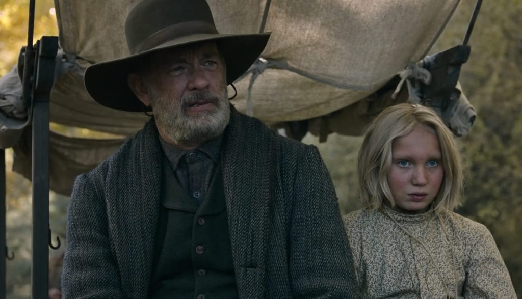 Tom Hanks and a little girl ride across 1800s Texas in News of the World.