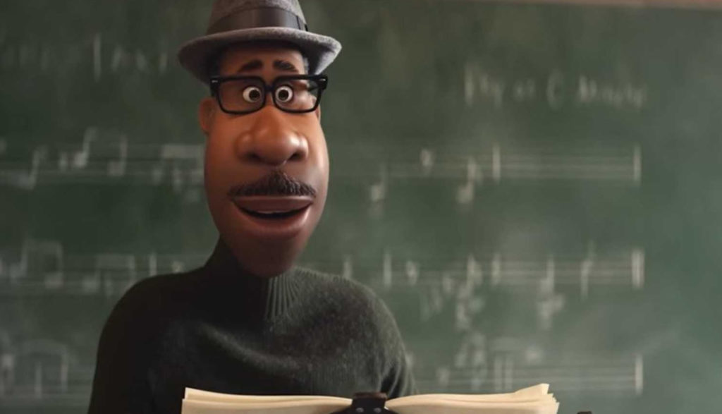 An animated Black music teacher stands before his class in Soul.