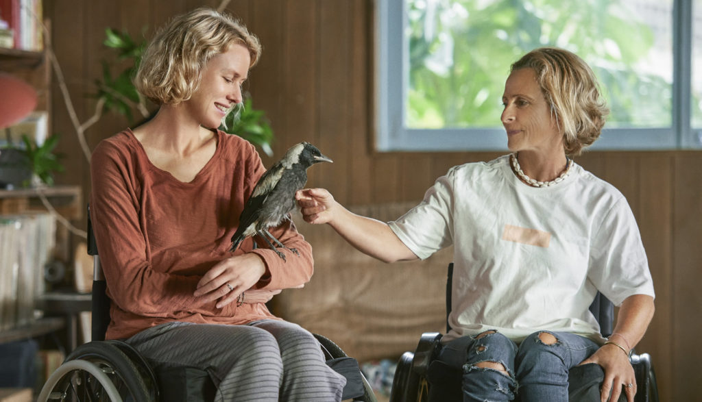 One woman in a wheelchair with a magpie chick on her hand talks to another woman in a wheelchair.