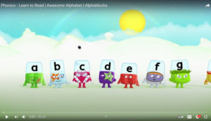 Screen shot of the YouTube channel Alphablocks.