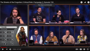 Screenshot of the YouTube Channel for Critical Role.