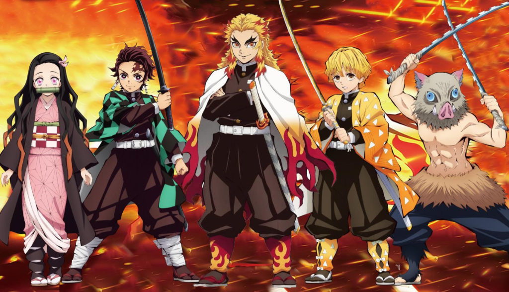 Picture of the main good guys from the anime movie Demon Slayer the Movie: Mugen Train.