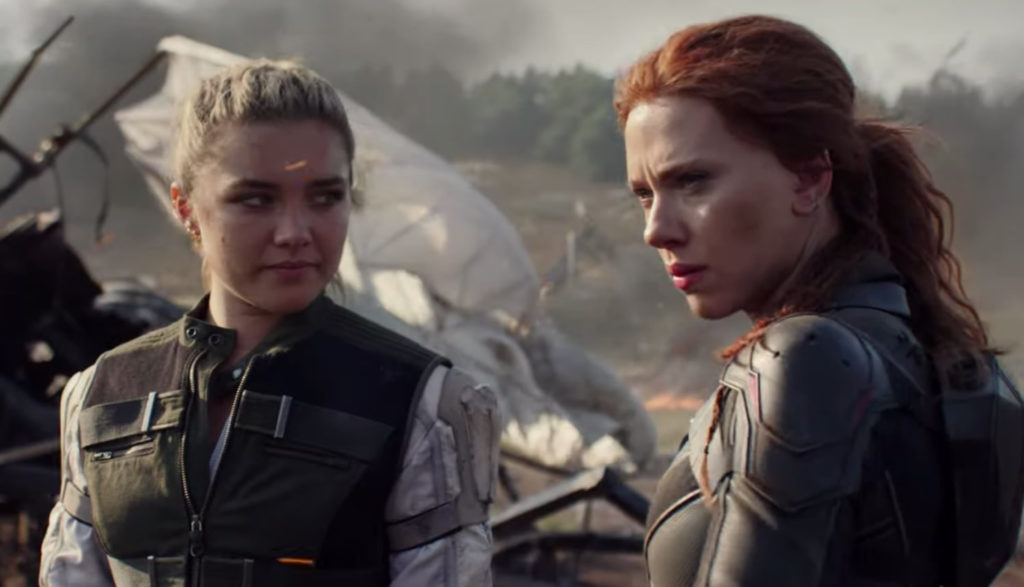 Black Widow (Natasha Romanoff) and her sister looking fierce after a destructive battle.