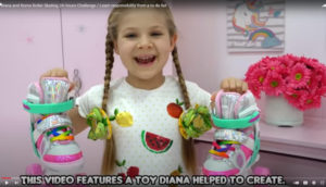 A young Ukrainian YouTuber holds up a pair of roller skates, smiling.